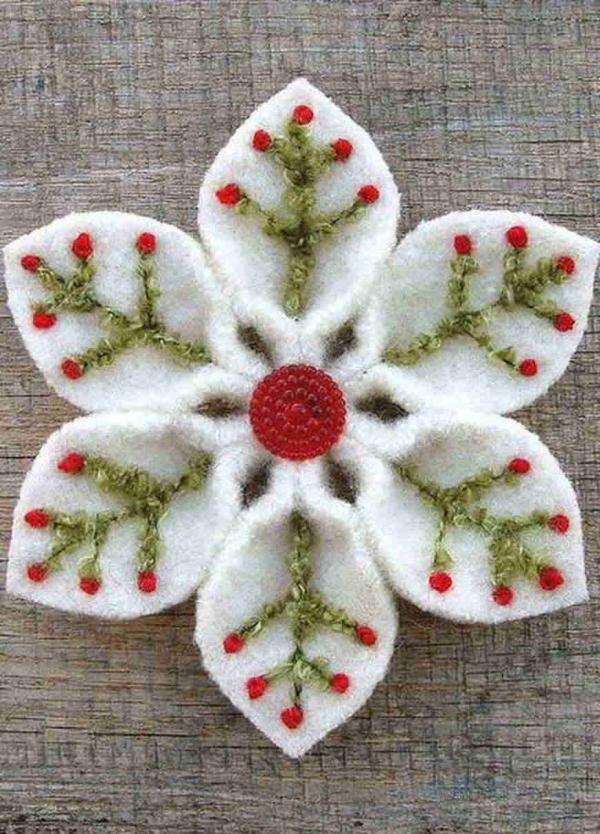 déco Noël à fabriquer en tissu une étoile-fleur