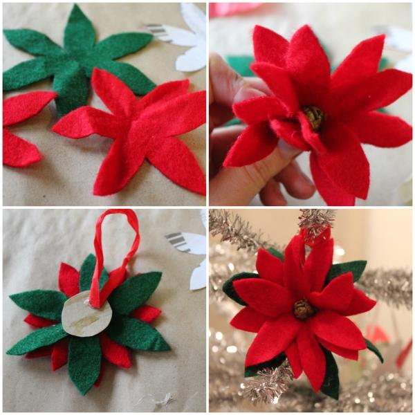déco Noël à faire soi-même fleur en feutre