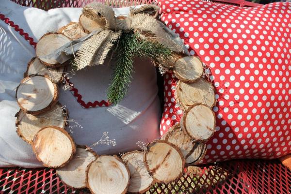 déco Noël à faire soi-même rondelles de bois