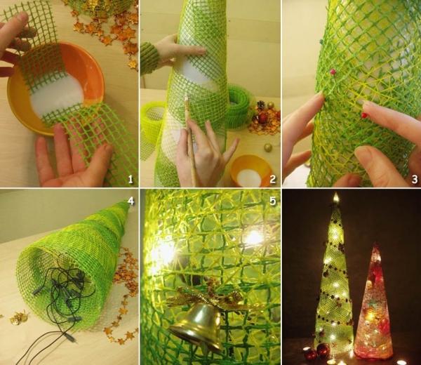 déco Noël à faire soi-même un cône illuminé