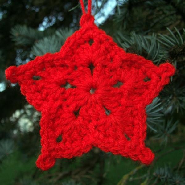 déco Noël au crochet étoile rouge