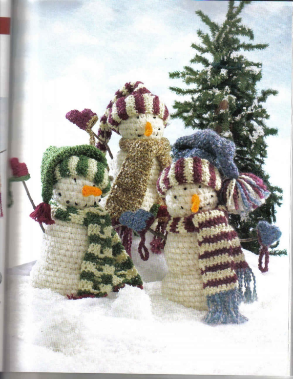 déco Noël au crochet bonhommes de neige