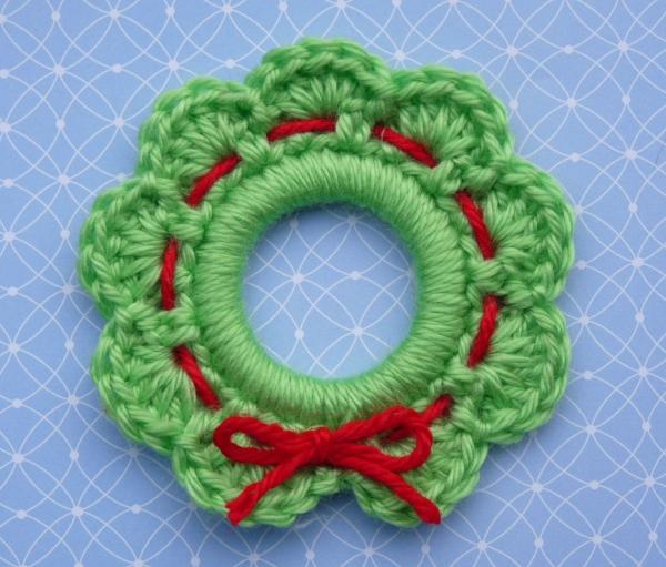déco Noël au crochet couronne verte