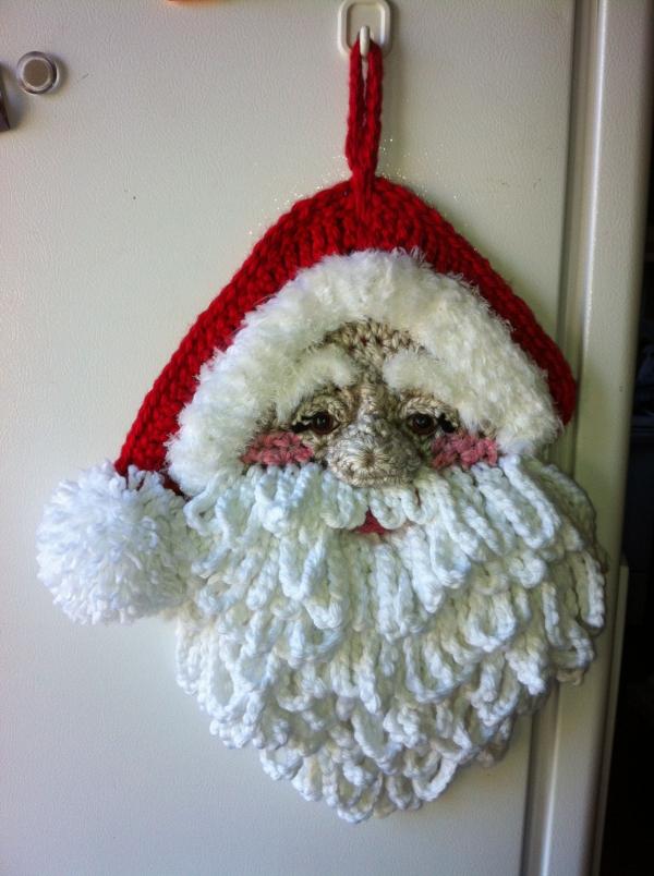 déco Noël au crochet tête de Père Noël