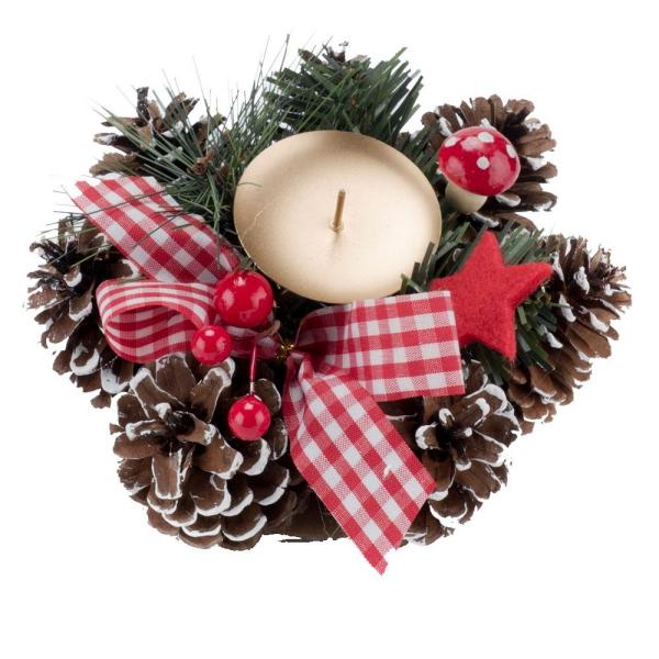 déco Noël pomme de pin bougie entourée de pommes de pin