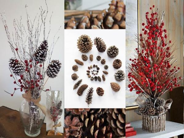 déco Noël pomme de pin décoration pour l'hiver