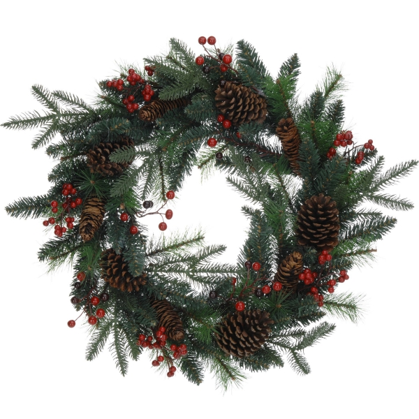 déco Noël pomme de pin du houx dans la couronne
