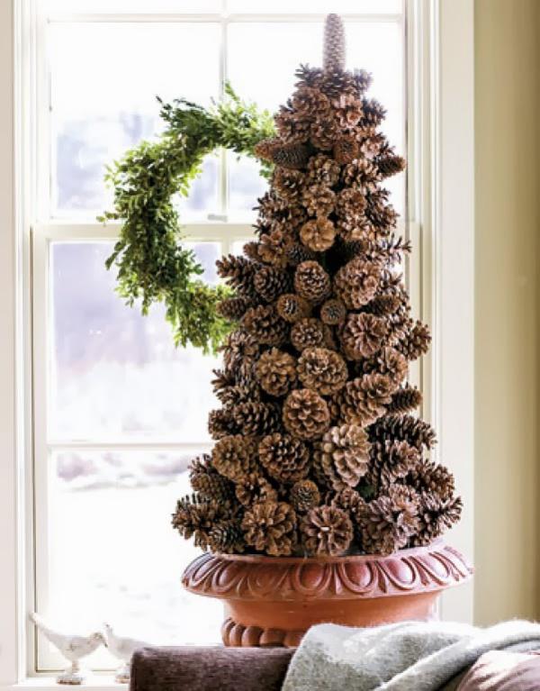 déco Noël pomme de pin un pot à fleurs en céramique