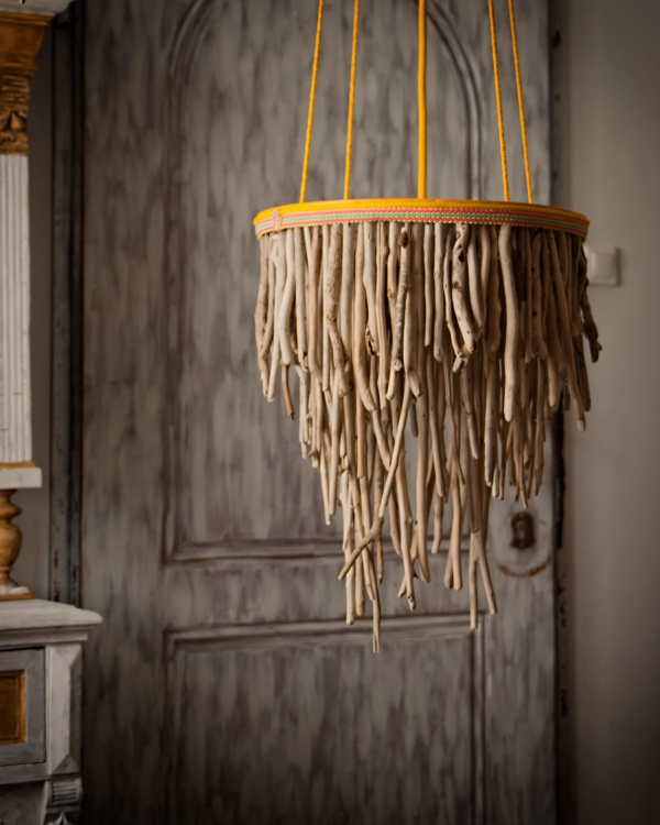 déco bois flotté lustre vintage