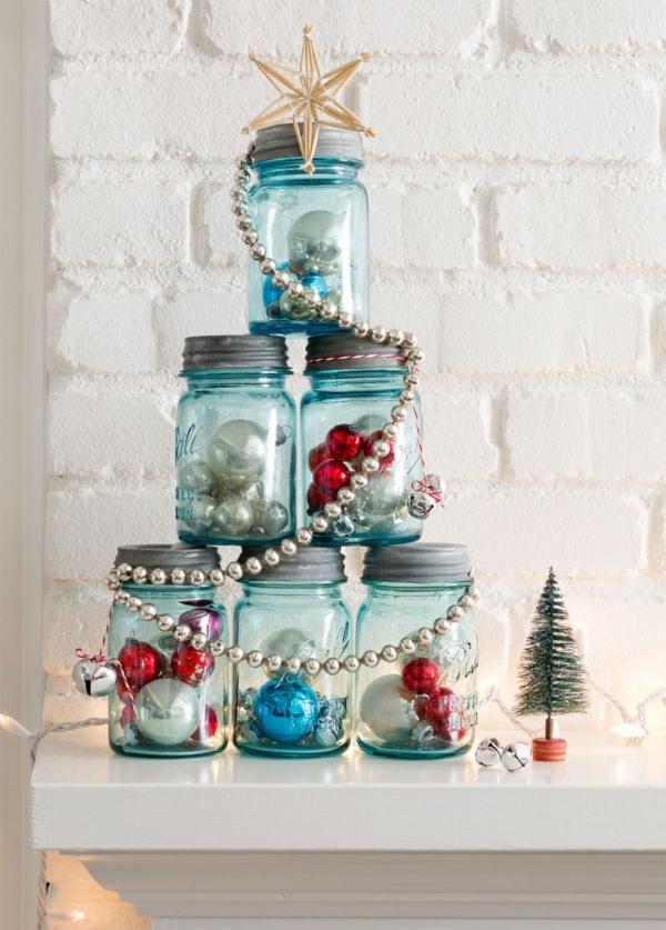 déco pot en verre arbre de Noël de bocaux