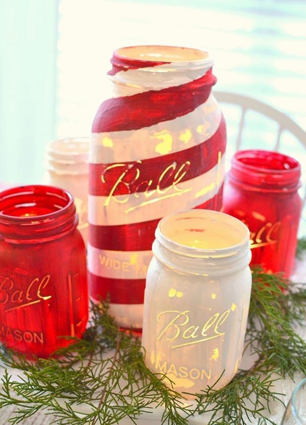 déco pot en verre bocaux peints en blanc et rouge