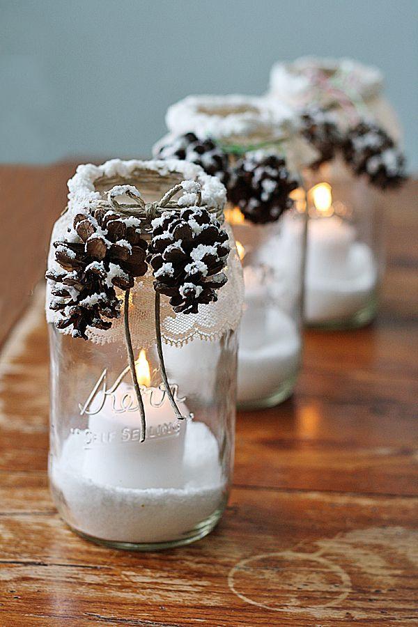 déco pot en verre bougies enneigées