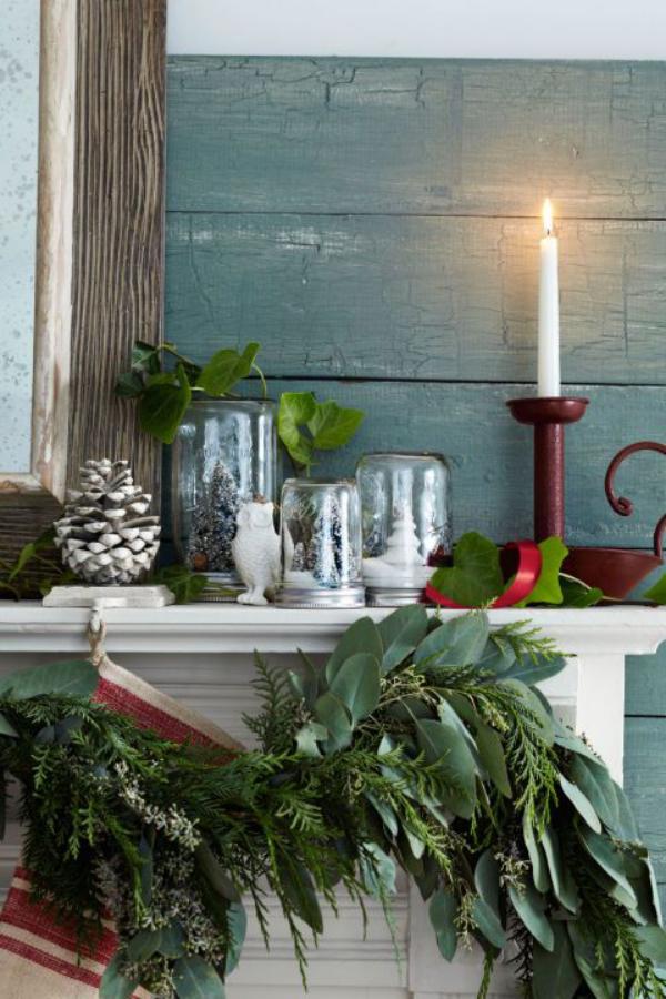 déco pot en verre cheminée décorée