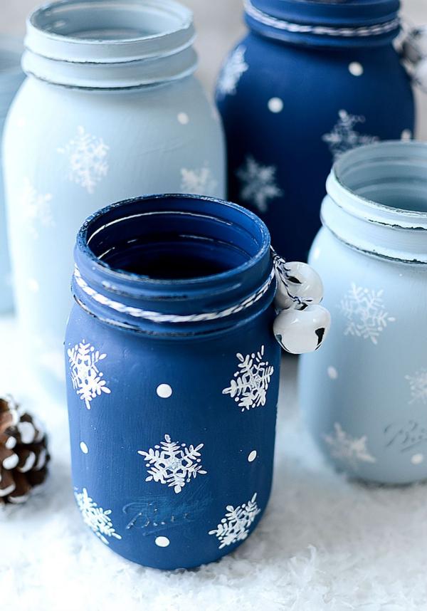 déco pot en verre pays des merveilles en bleu