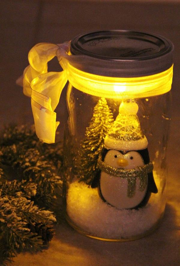déco pot en verre pingouin chandelle
