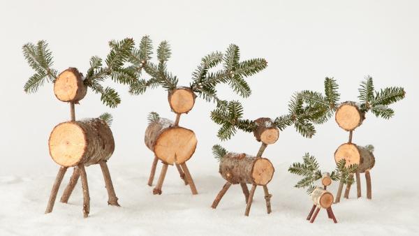 décoration Noël à fabriquer en bois cerfs et biches