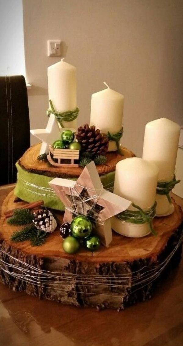 décoration Noël à fabriquer en bois chandelles et étoiles
