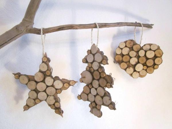 décoration Noël à fabriquer en bois sapin, étoile et coeur