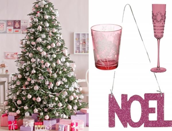 décoration Noël couleur rose