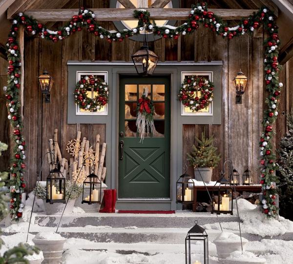 décoration Noël le devant d'une maison