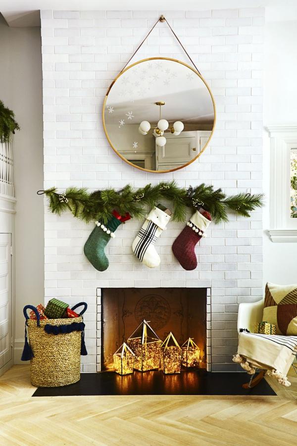 décoration Noël un mur en briques