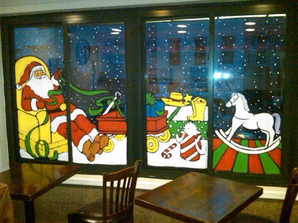 décoration de Noël fenêtre Père Noël arrive