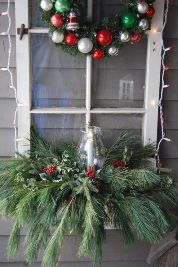 décoration de Noël fenêtre cadre accroché au mur