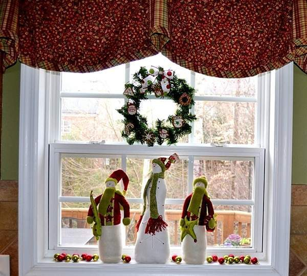 décoration de Noël fenêtre couronne de Noël