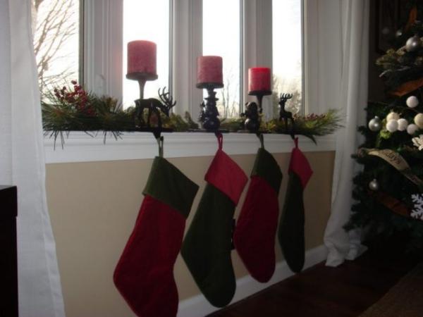 décoration de Noël fenêtre figurines de rennes