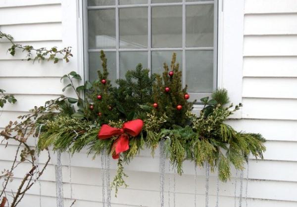 décoration de Noël fenêtre on attend la fête