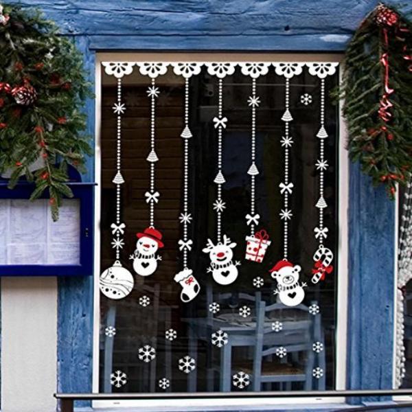 décoration de Noël fenêtre pendentifs blancs