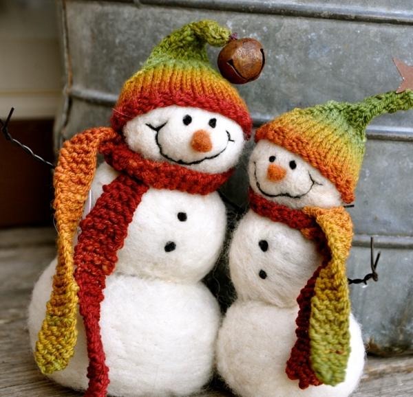 décoration de noël extérieur bonhommes de neige en boules de coton