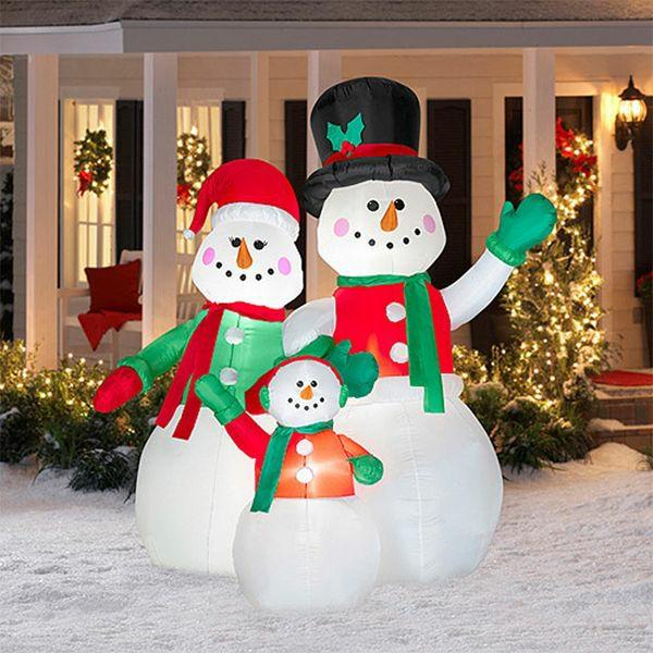 décoration de noël extérieur bonhommes de neige gonflables