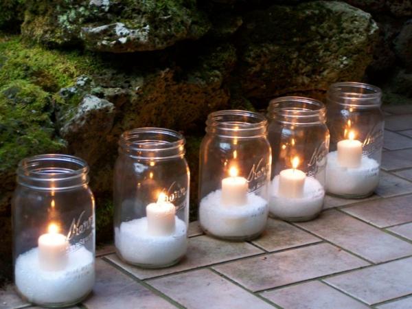décoration de noël extérieur bougies en bocaux