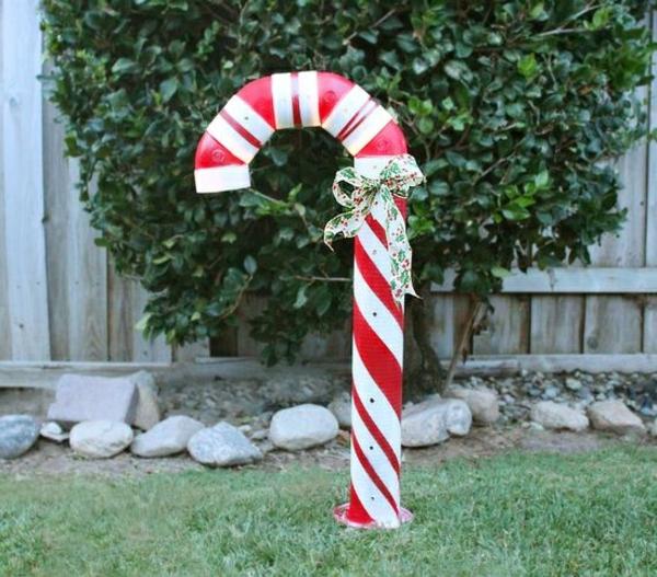 décoration de noël extérieur canne de bonbon géante