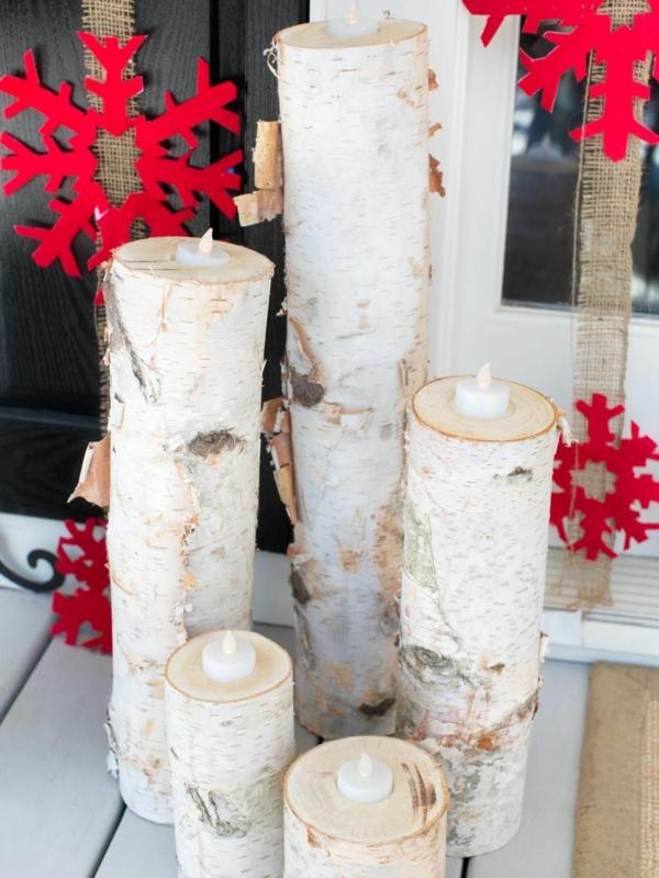 décoration de noël extérieur chandelier en rondin