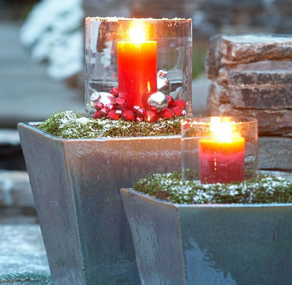 décoration de noël extérieur chandelier en verre