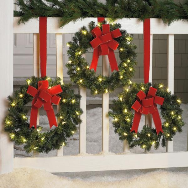 décoration de noël extérieur clôture de jardin guirlandes de Noël