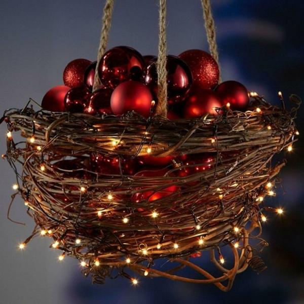 décoration de noël extérieur corbeille suspendue diy ornements de sapin