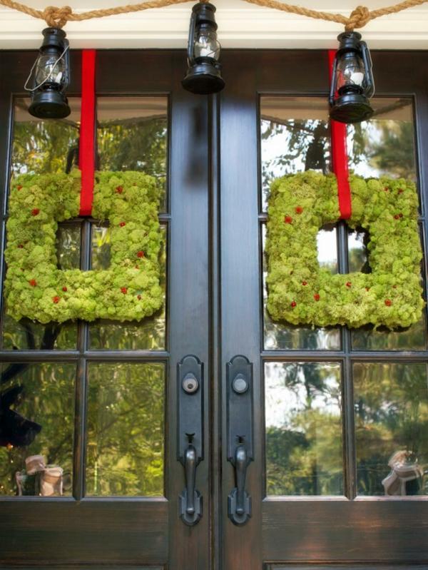 décoration de noël extérieur couronnes porte