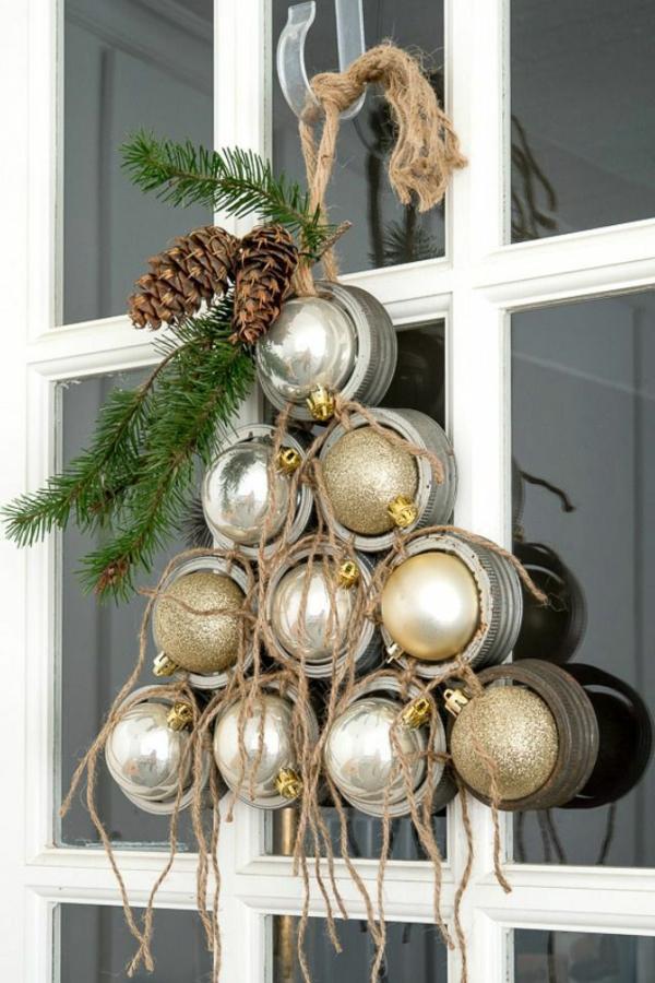 décoration de noël extérieur couvercles de bocaux Mason boules de Noël