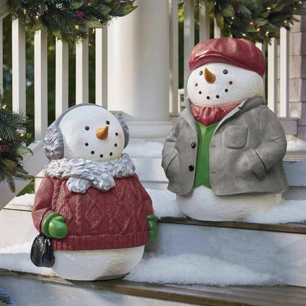 décoration de noël extérieur figurine bonhomme de neige