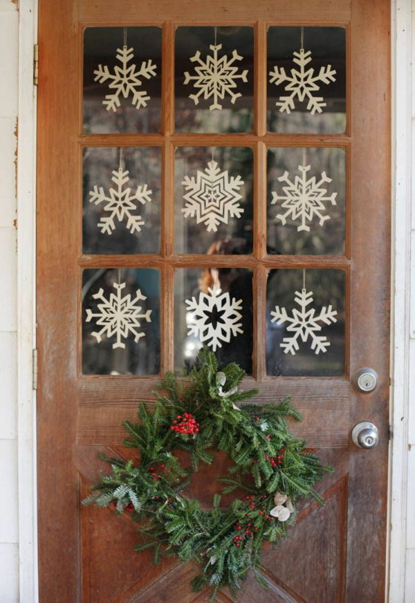 décoration de noël extérieur flocons de neige en papier porte