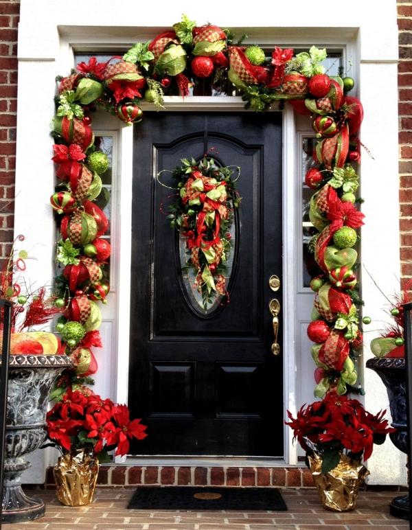 décoration de noël extérieur guirlande de porte