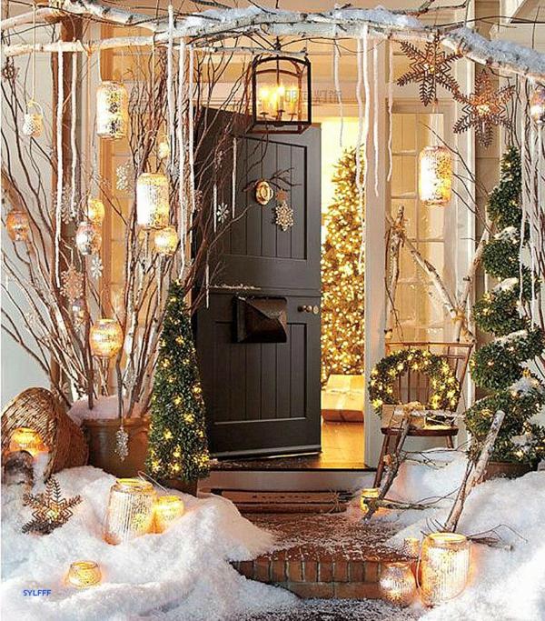 décoration de noël extérieur lampadaire design porte
