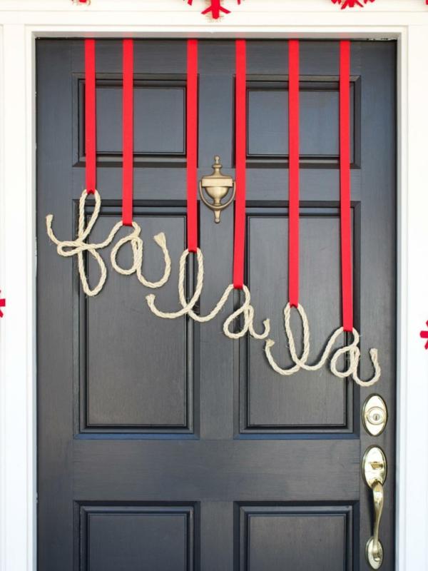 décoration de noël extérieur message porte d'entrée
