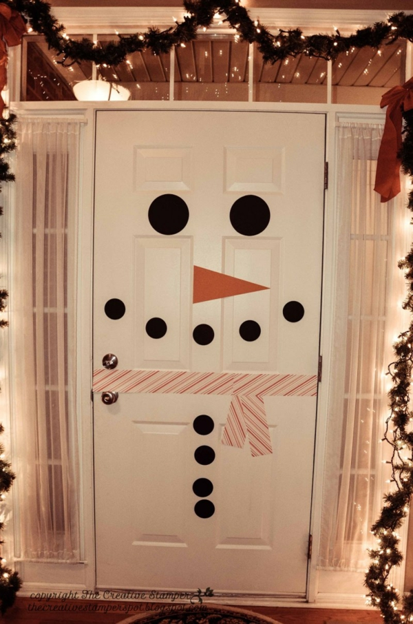 décoration de noël extérieur porte bonhomme de neige sticker