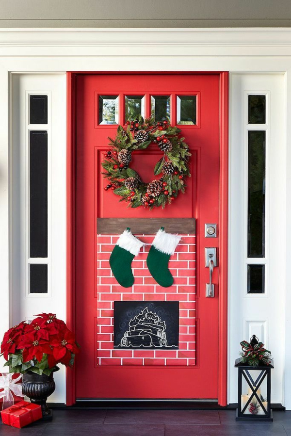 décoration de noël extérieur porte d'entrée cheminée décorative