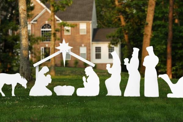 décoration de noël extérieur scène naissance de jésus