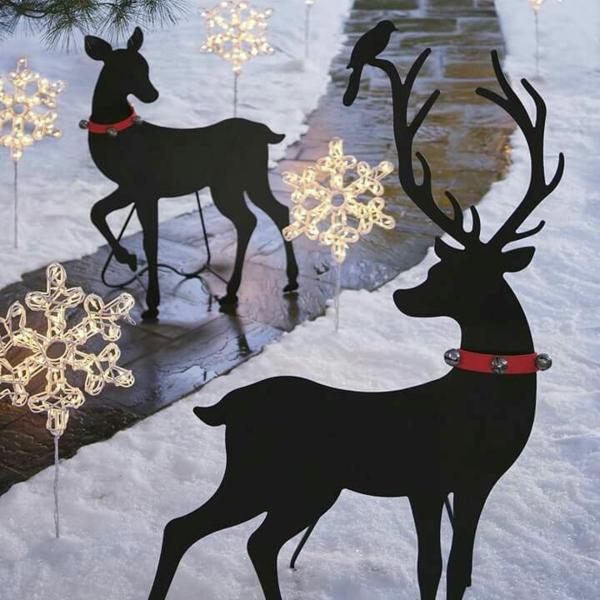 décoration de noël extérieur silhouettes de rennes
